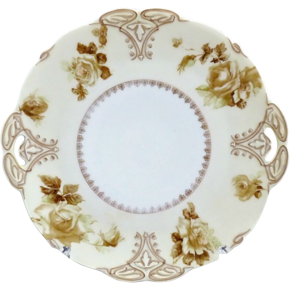 Antique German cake plate Hermann Ohme Old Ivory