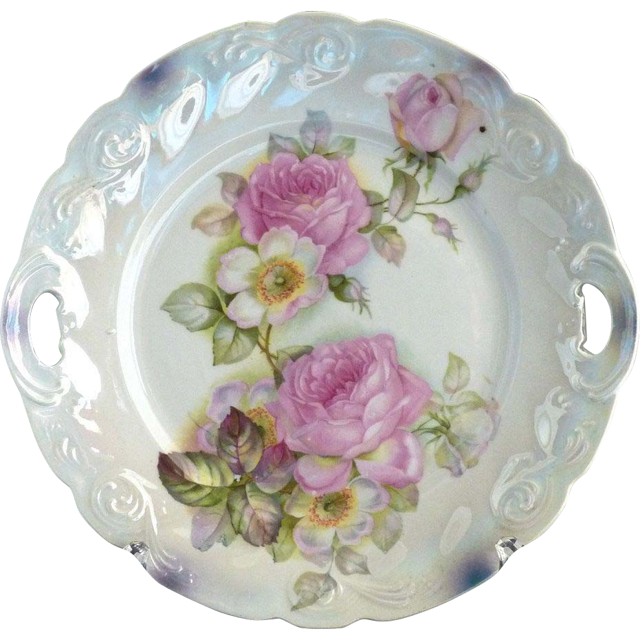 Antique cake plate heirloom roses Bavaria lusterware