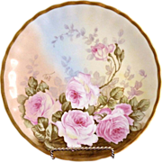 Antique porcelain rose plate hand painted Limoges c. 1910