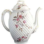 Antique porcelain coffee pot Lanternier Limoges c. 1891