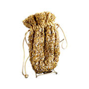 Vintage wrist purse drawstring gold sequins