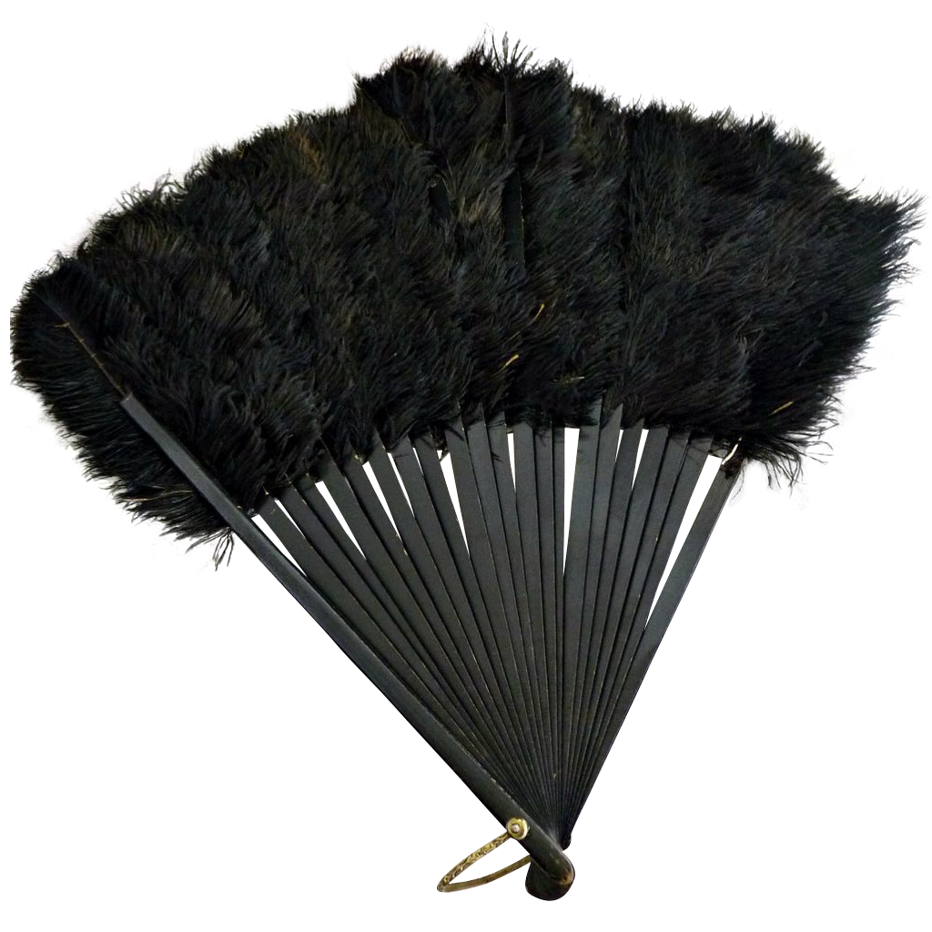 Victorian hand fan black ostrich feathers c. 1800s