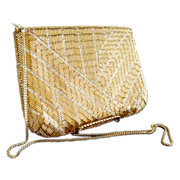 Vintage gold bead purse geometric chain link strap