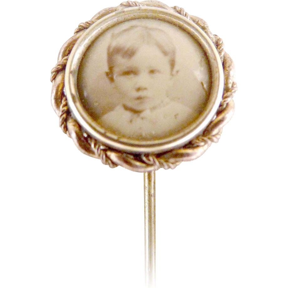 Antique photo stick pin childs picture original box