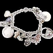 Vintage sterling charm bracelet school girl camp fire girls