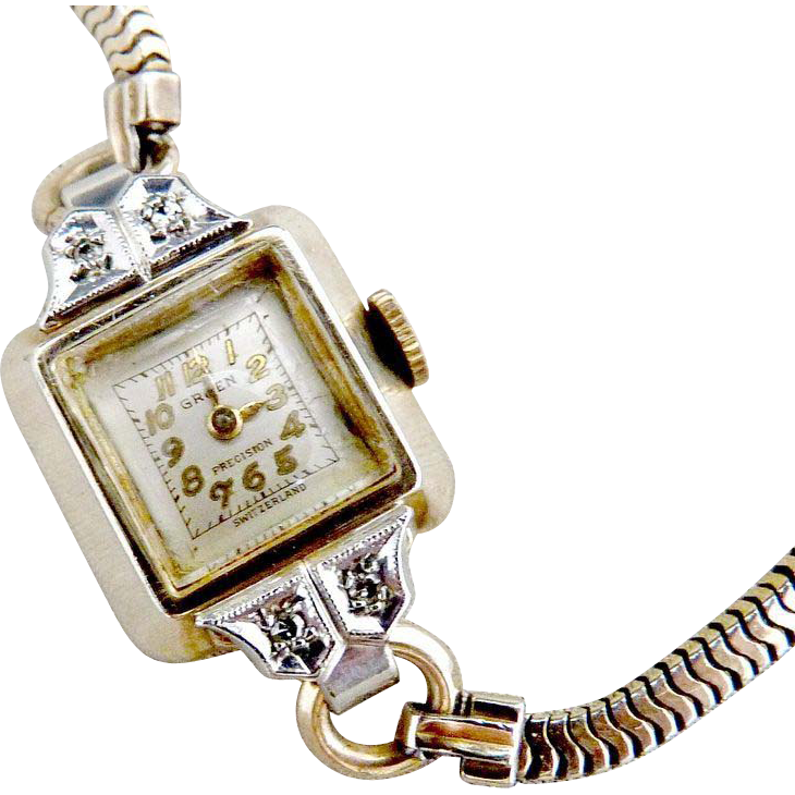 Vintage Gruen watch diamonds c. 1948
