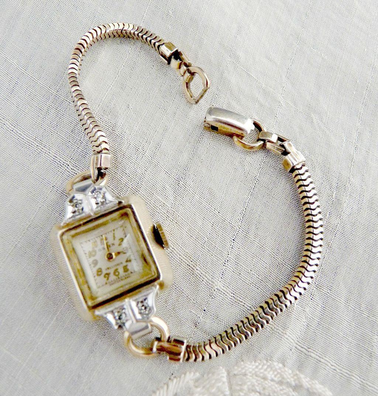 vintage gruen watch diamonds c 1948 from victoriascurio. Black Bedroom Furniture Sets. Home Design Ideas