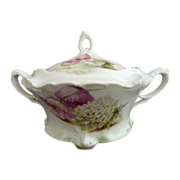R.S. Prussia porcelain cracker jar poppies roses c. 1915