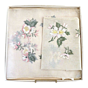 Vintage chiffon dresser scarves embroidered flowers Japan