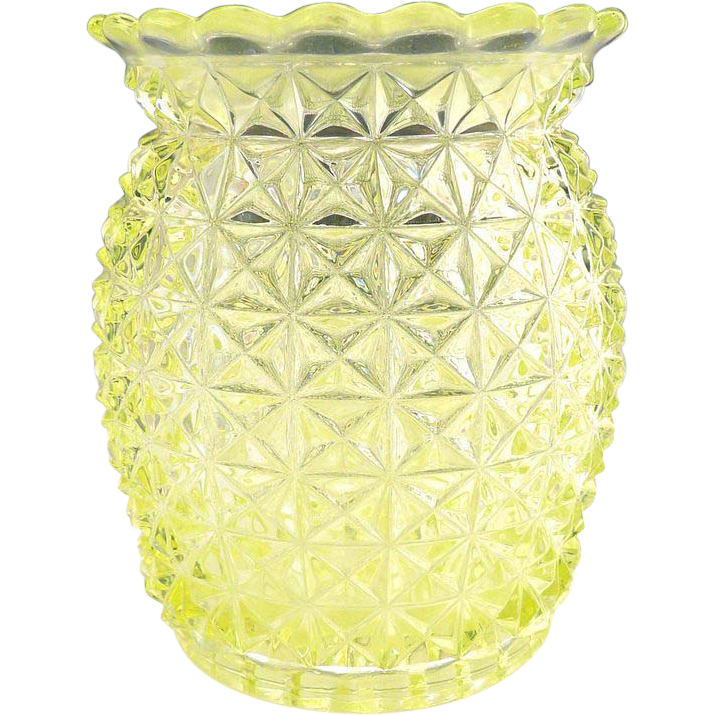 Geo Duncan and Sons canary glass spooner Bagware c. 1884