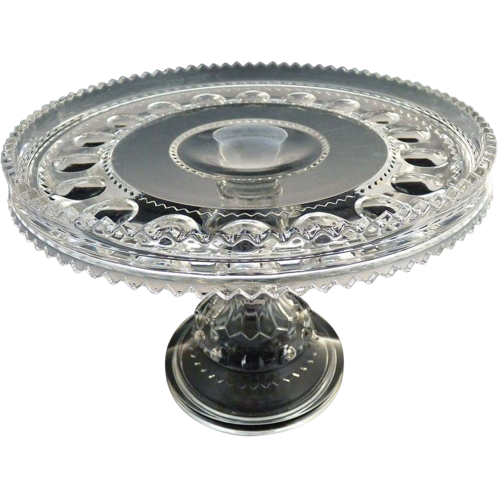 Adams Glass pedestal cake stand Kings Crown c. 1890s from rubylane ...