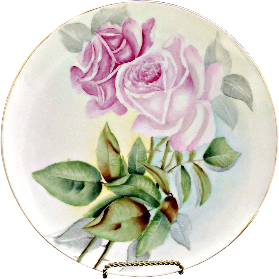 Heirloom porcelain plate pink hand painted roses Austria c.  1900