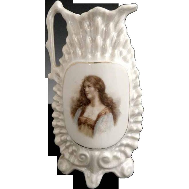 Victoria porcelain ewer vase salesman sample Czechslovakia
