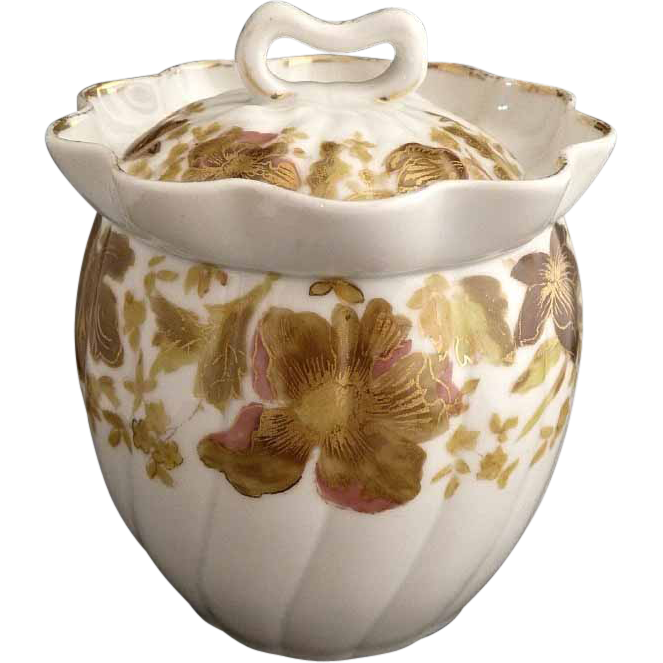 Marx Gutherz sugar bowl gold over hand painting Austria porcelain c. 1890s