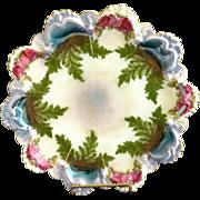 Victorian cake plate Austria porcelain ferns rose garland