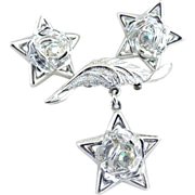 Vintage dangle star brooch earrings rose rhinestone center c. 1940s