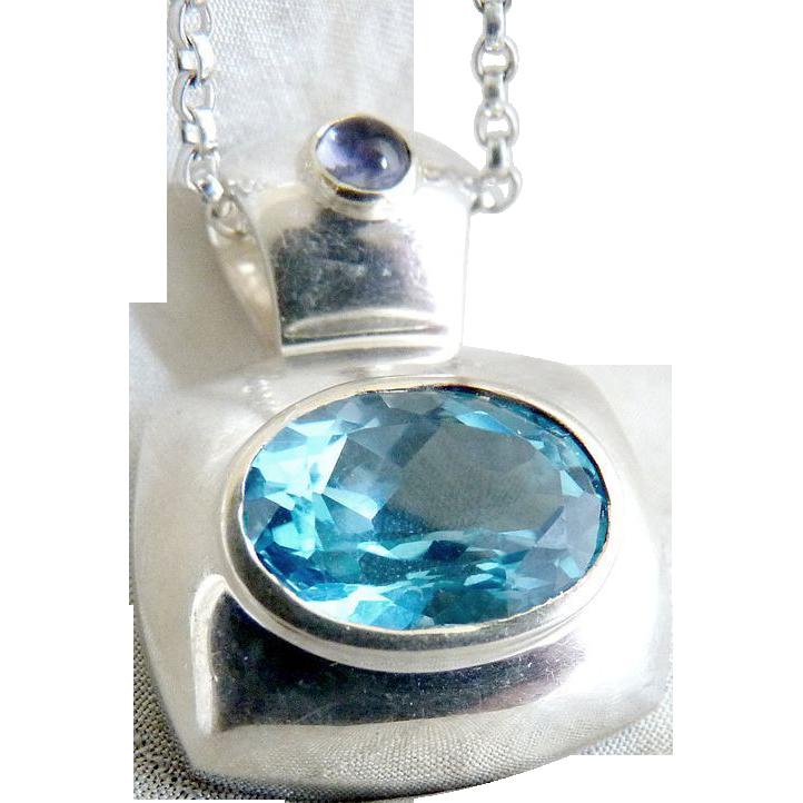Sterling aquamarine amethyst pendant necklace .925