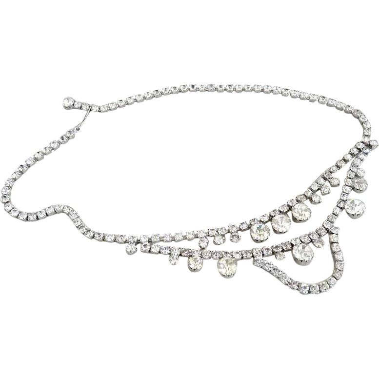 Vintage necklace crystal rhinestones drape Prom Wedding