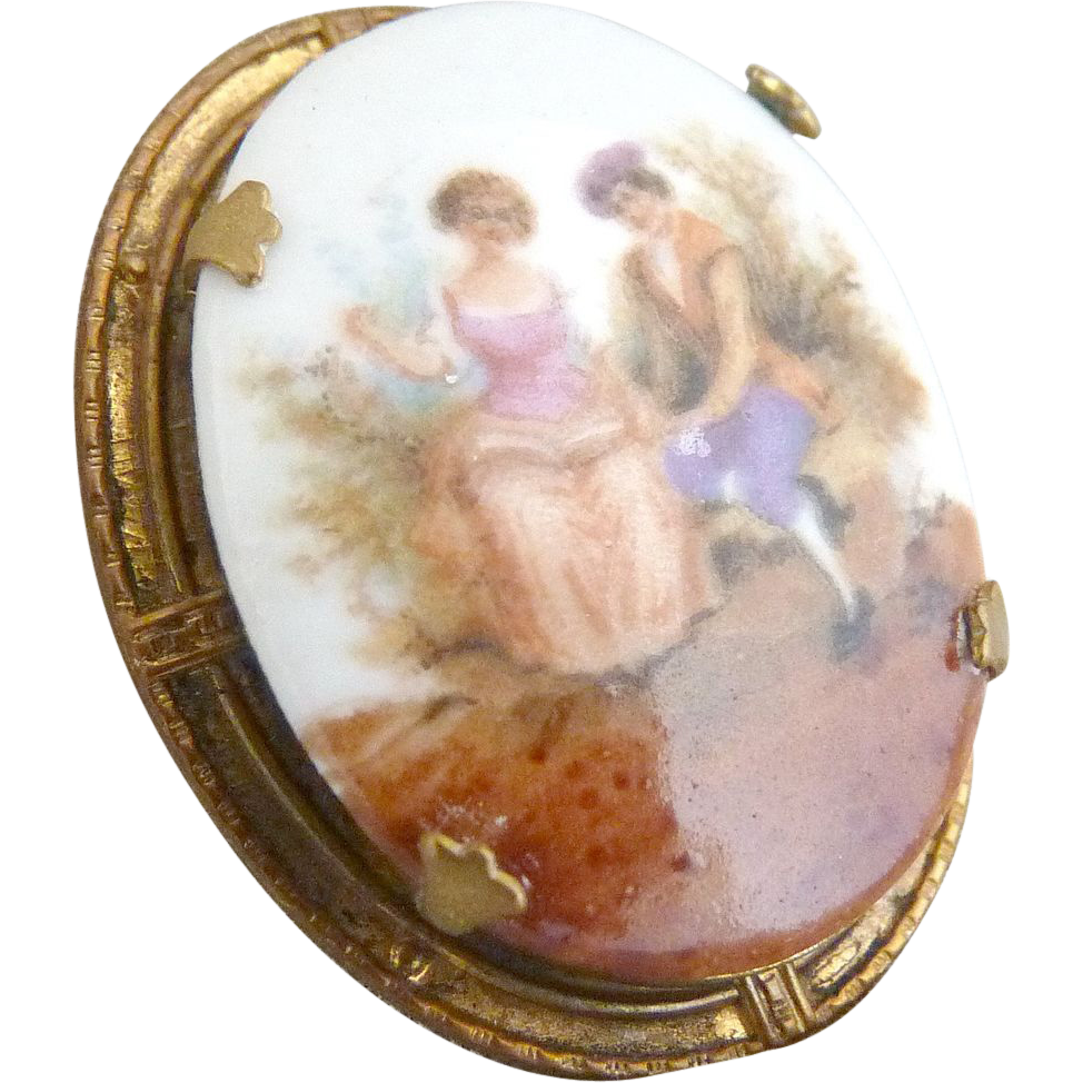 Victorian revival copper porcelain brooch 18th C. scene