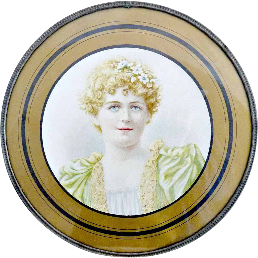 Victorian flue cover womans portrait c. 1900