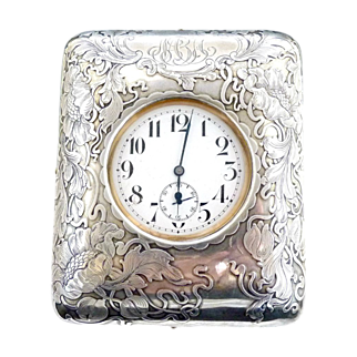 Art Nouveau French sterling silver travel clock Swiss pocket watch
