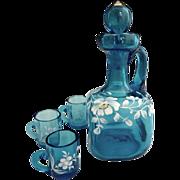 Antique Bluerina glass whiskey set enameled New England Glass
