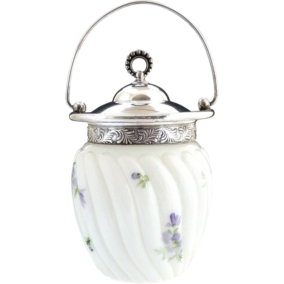 Antique milk glass biscuit jar hand painted silver mounts