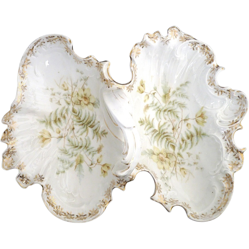 Antique porcelain tea tray CT Germany c. 1890s