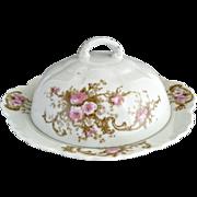 Antique porcelain butter dish pink roses Austria