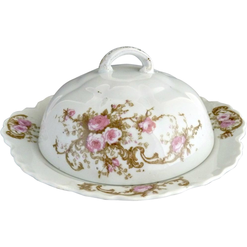 Antique porcelain butter dish pink roses Austria