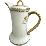 Limoges porcelain chocolate pot gold encrusted handle Lanternier c. 1891