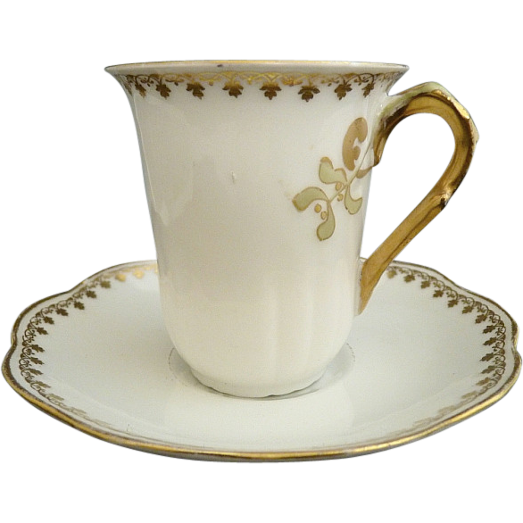 Antique Limoges chocolate cup saucer France porcelain