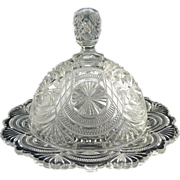 Bryce Higbee glass butter dish Banquet c. 1905 EAPG