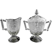 Jeannette Glass creamer sugar set Baltimore Pear c. 1957