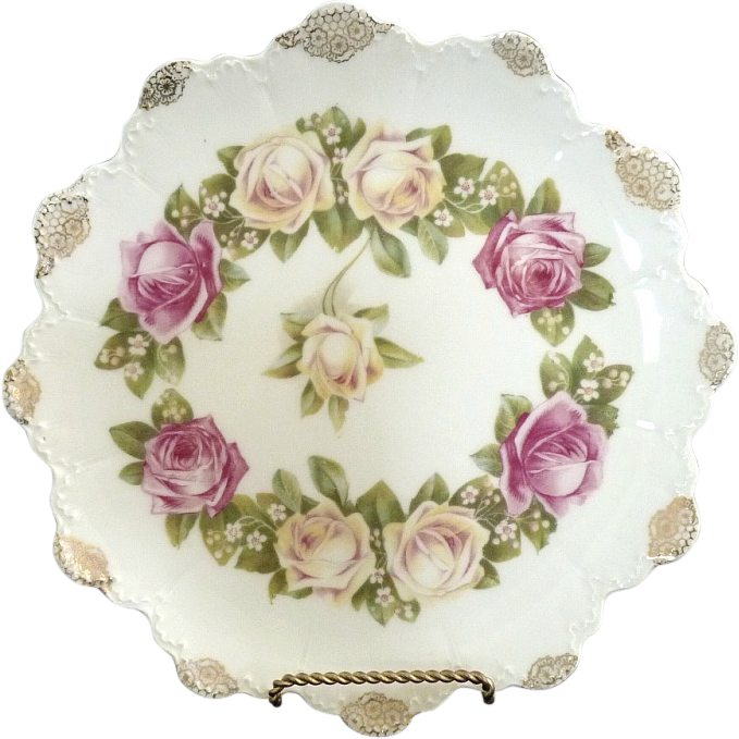 Rosenthal antique dinner plate Malmaison rose pattern