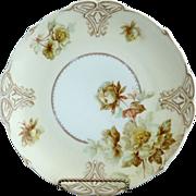 Old Ivory porcelain plate green roses VII Hermann Ohme