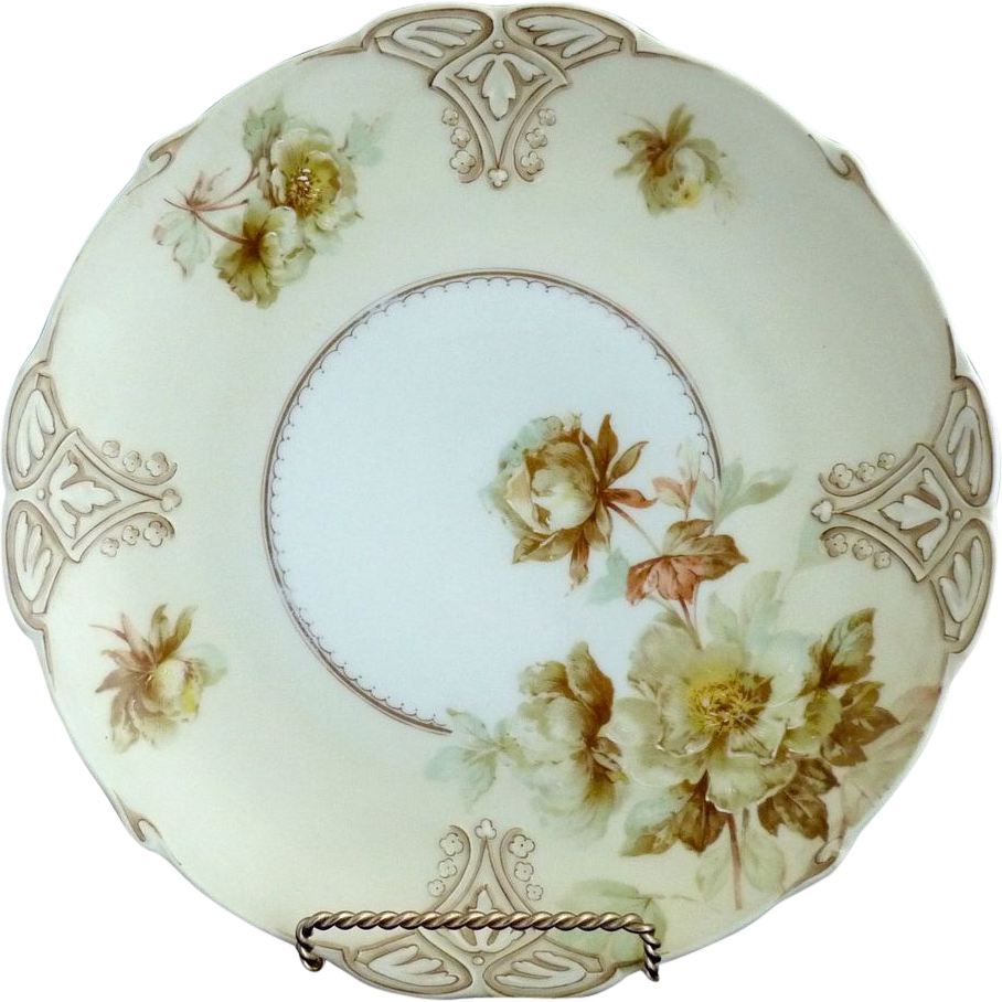 Old Ivory porcelain plate green roses VII Hermann Ohme