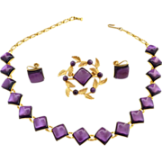 Vintage necklace brooch earrings amethyst stones c. 1940s