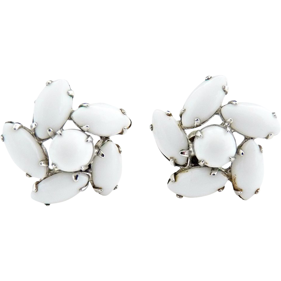 Vintage milk glass navette earrings c. 1940s
