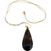 Vintage smokey quartz teardrop pendant necklace gold plated