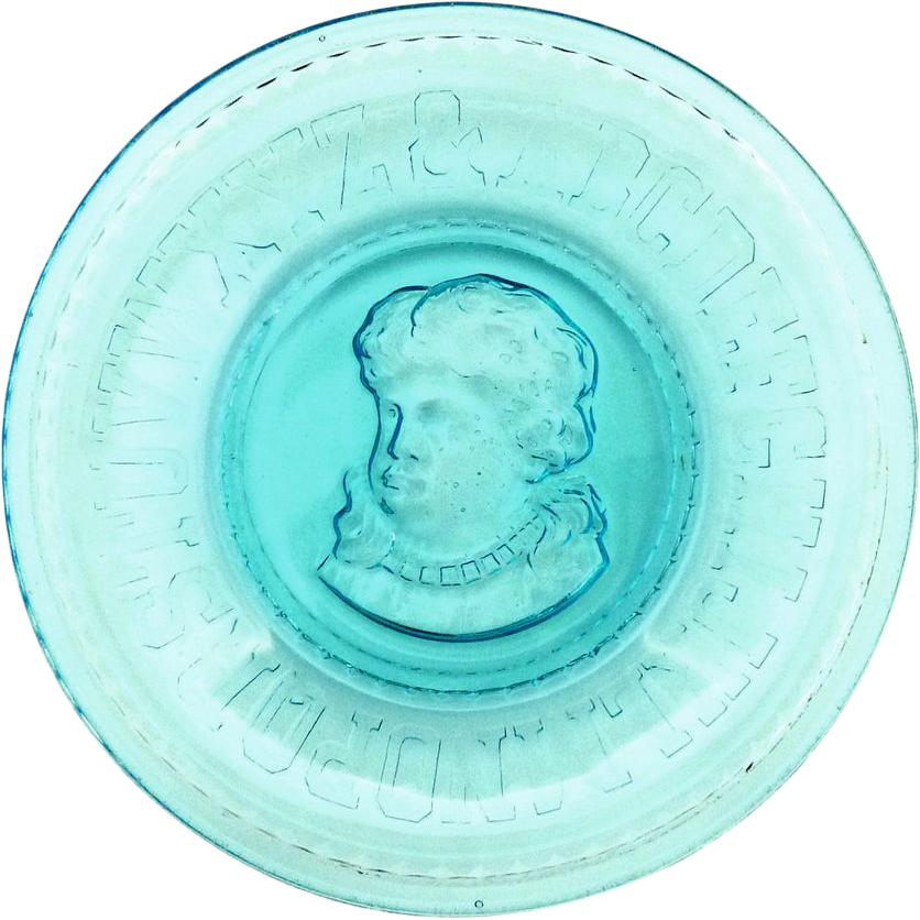EAPG blue glass Emma plate by Bryce Higbee c. 1893