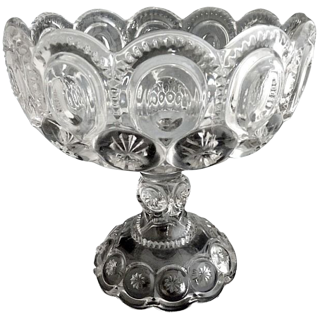 Adams Glass pedestal compote moon stars