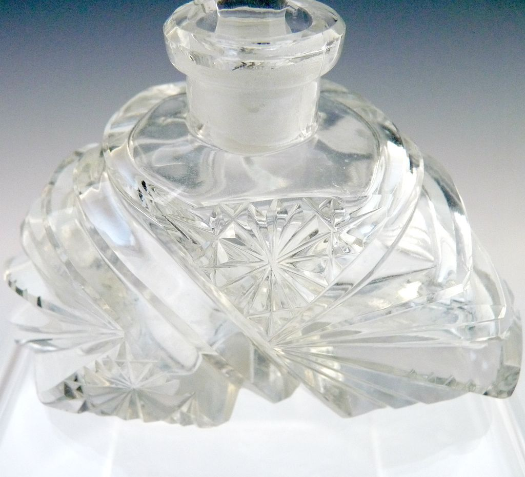 Cut Glass Perfume Bottle Tall Art Deco Stopper With Flowers