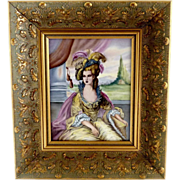 Oil on porcelain portrait painting 18th Century Lady gold framed - Red Tag Sale Item