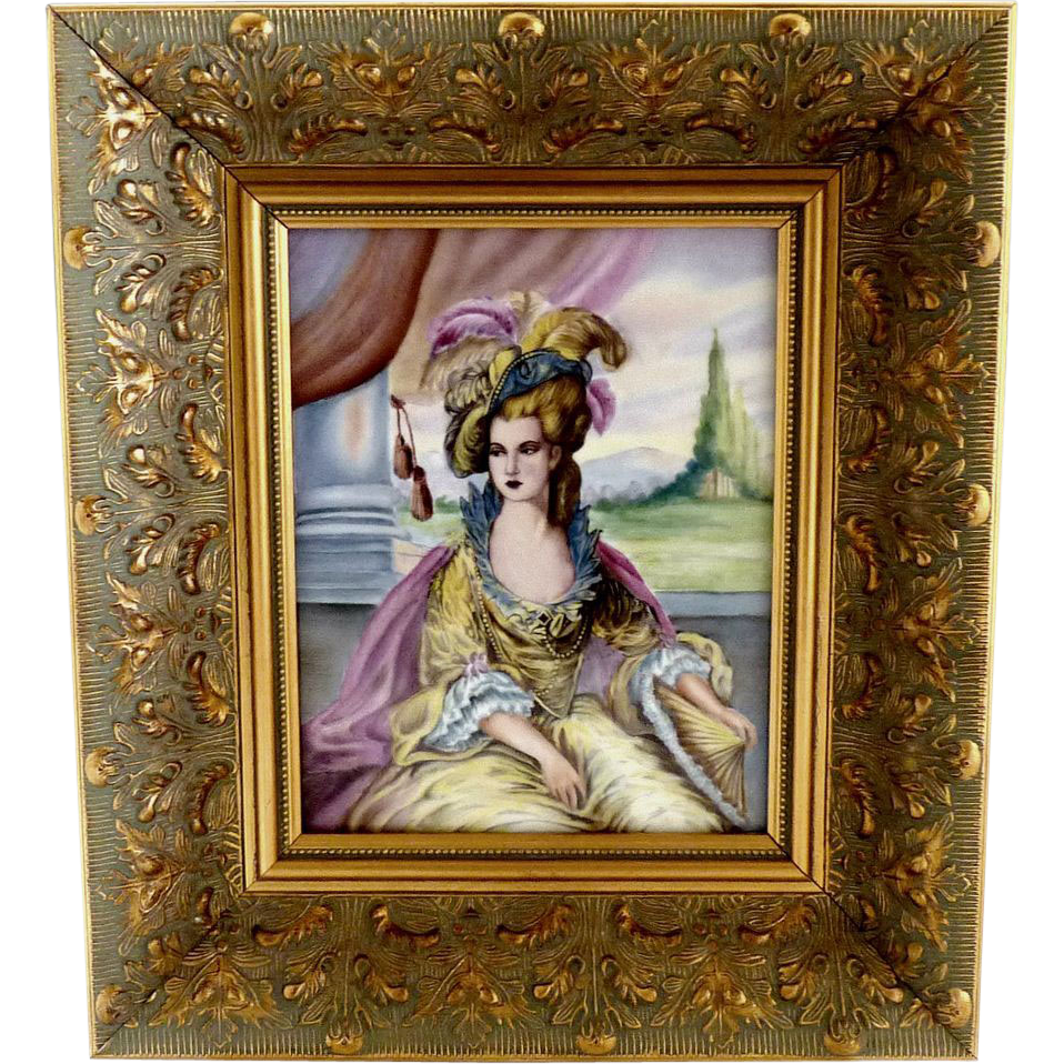 Oil on porcelain portrait painting 18th Century Lady gold framed ...