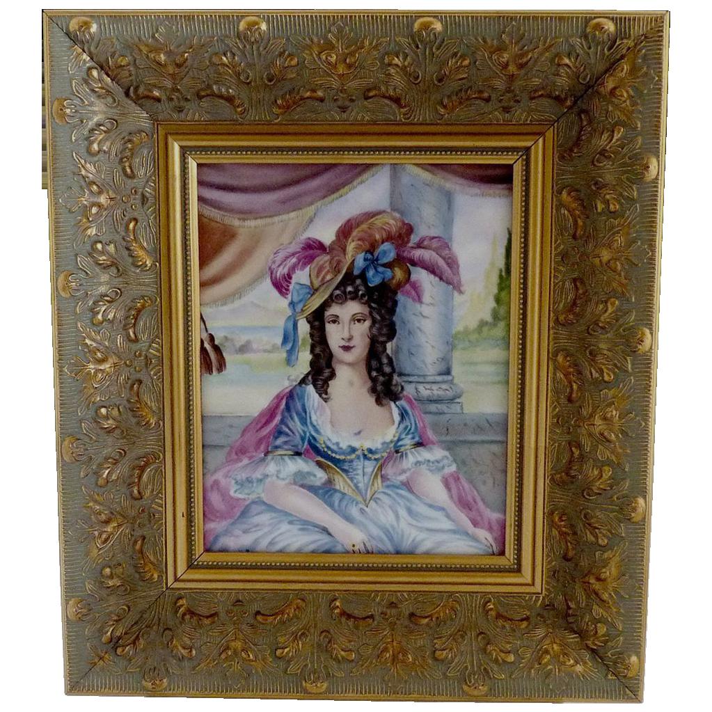 Vintage portrait painting 18th Century lady oil on porcelain
