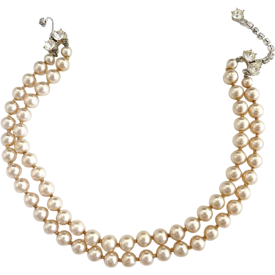 Vintage Pearl Choker Necklace: Vintage Faux Pearl Choker Necklace Rhinestone Closure
