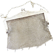 Edwardian German Silver mesh purse bead fringe c. 1910