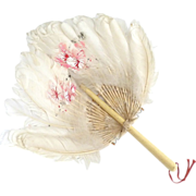 Antique feather down hand fan bone handle summer wedding