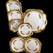 Rare RS Prussia porcelain dessert plate set gold trim c. 1930s